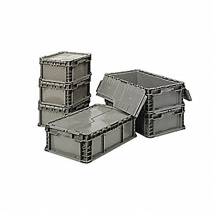 "Attached Lid Container, Gray, 7""H x 24""L x 15""W, 1EA"