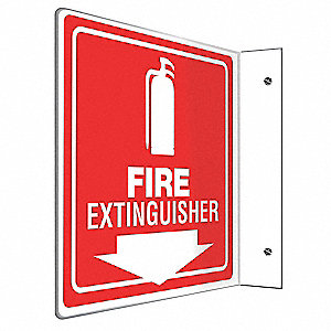 Fire Extinguisher Sign,8 x 8In,WHT/R,PS