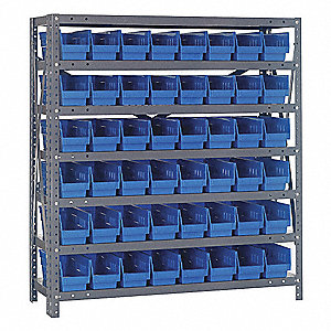 "Steel Bin Shelving with 48 Bins, 36""W x 18""D x 39""H, Load Capacity: 2400 lb., Gray"