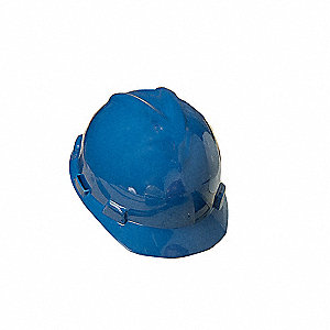 Front Brim Hard Hat, 4 pt. Ratchet Suspension, Blue, Hat Size: 7 to 8-1/2