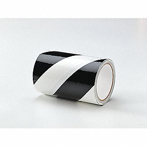 "Safety Warning Tape, Striped, Continuous Roll, 6"" Width, 1 EA"