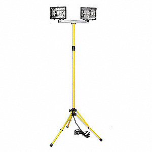 500W Halogen Temporary Job Site Light, Yellow (Pole), 120VAC