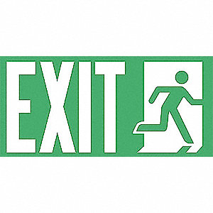 Exit Sign,9-1/2 x 4-1/2In,WHT/GRN,Exit