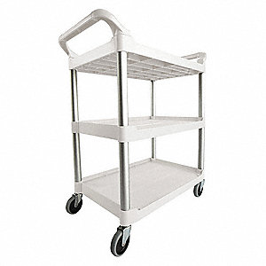 Plastic Raised Handle Utility Cart, 200 lb. Load Capacity, Number of Shelves: 3
