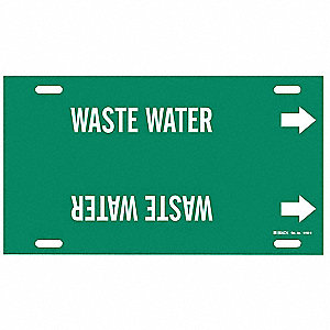 Pipe Marker, Waste Water, Grn, 10 to 15 In