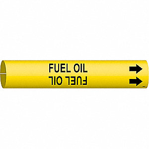 Pipe Marker, Fuel Oil, Yellow, 4 to 6 In