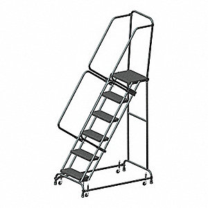 "6-Step Rolling Ladder, Perforated Step Tread, 93"" Overall Height, 450 lb. Load Capacity"