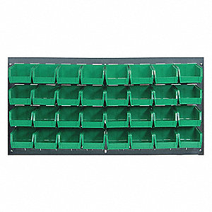 Louvered Panel,36 x 8 x 19 In,Green