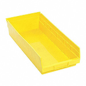 "Shelf Bin, Yellow, 17-7/8"" Outside Length, 8-3/8"" Outside Width, 4"" Outside Height"