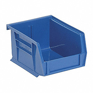 "Hang and Stack Bin, Blue, 5-3/8"" Outside Length, 4-1/8"" Outside Width, 3"" Outside Height"