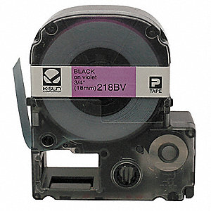 "Black on Violet Polyester Cartridge Label, Indoor/Outdoor Label Type, 26 ft. Length, 3/4"" Width"