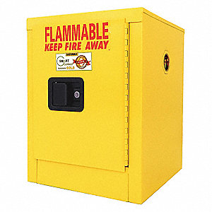 "17"" x 17"" x 22"" Galvanized Steel Flammable Liquid Safety Cabinet with Standard Door, Self-Latch Door"