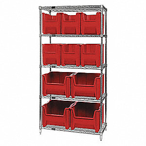 "Steel Wire Bin Shelving with 10 Bins, 36""W x 18""D x 74""H, Load Capacity: 4000 lb., Gray"