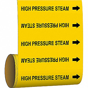 Pipe Marker,High Pressure Steam,Yel