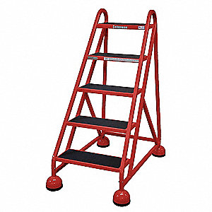 Rolling Ladder,Welded,Platform 45In H