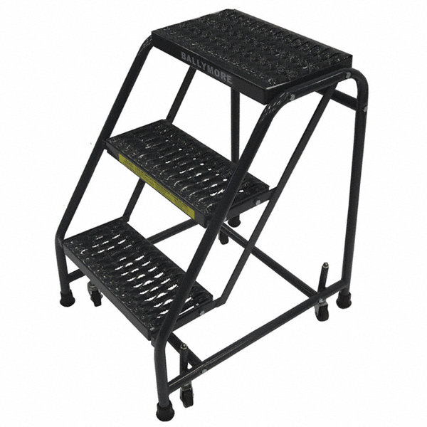 Ballymore 3 Step Rolling Ladder Serrated Step Tread 28 1