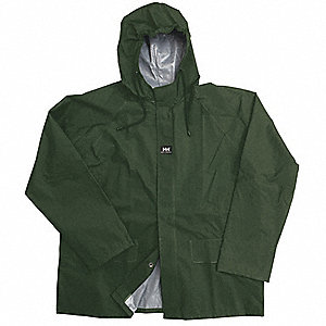 "Men's Dark Green PVC Rain Jacket with Hood, Size 4XL, Fits Chest Size 58"" to 60"""