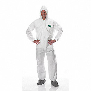 Hooded Disposable Coveralls with Elastic Cuff, White, 3XL, MicroMax® HBF