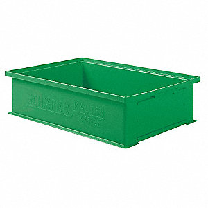 "Straight Wall Container, Green, 5""H x 19""L x 13""W, 1EA"