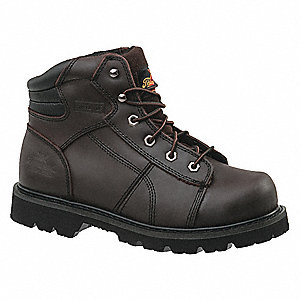 "6""H Men's Work Boots, Steel Toe Type, Leather Upper Material, Brown, Size 9W"