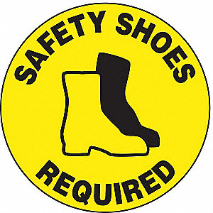 Floor Sign,17In,Safety Shoes Required