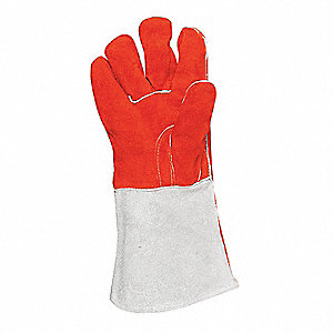Welding Gloves,L,Orange/Gray,PR