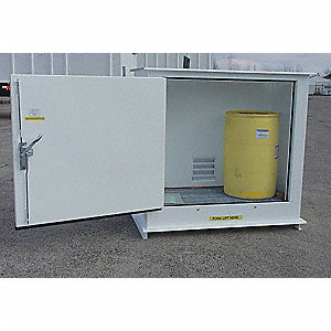 "90"" x 66"" x 96"" Steel Outdoor Storage Locker with 2 hr. Fire Rating, White"