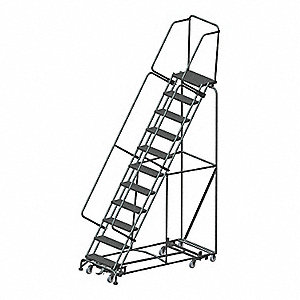 "11-Step Rolling Ladder, Perforated Step Tread, 143"" Overall Height, 450 lb. Load Capacity"
