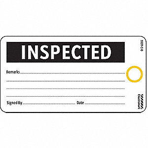 Inspected Tag,3 x 5-3/4 In,Bk/Wht,PK25