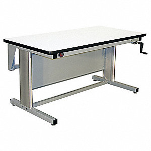 "Hand Crank Workbench, Laminate, 30"" Depth, 30"" to 42"" Height, 60"" Width, 330 lb. Load Capacity"
