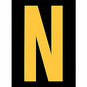 Reflective Letter Label,N,2-1/2in H,PK25