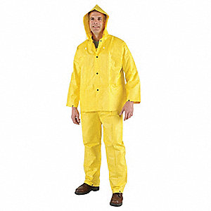 "Unisex Yellow PVC 3-Piece Rainsuit with Detachable Hood, Size: M, Fits Chest Size: 40"" to 42"""