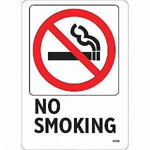 No Smoking Sign,7 x 5In,R and BK/WHT,ENG