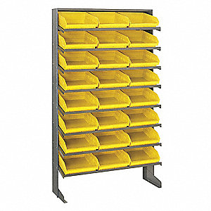 "Steel Pick Rack with 24 Bins, 36""W x 12""D x 60""H, Load Capacity: 400 lb., Gray"