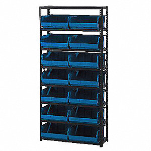"Steel Bin Shelving with 24 Bins, 36""W x 12""D x 75""H, Load Capacity: 2800 lb., Gray"