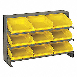 "Bench Pick Rack,23"" H,9 Bins,Yllow"