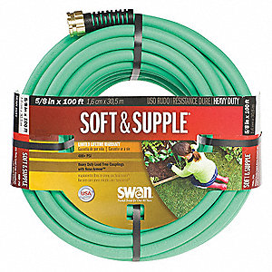 "100 ft. x 5/8"" dia. Water Hose, Rubber/PVC, 400 psi, Green"