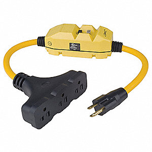 Plug-In GFCI with Cord, 120VAC Voltage Rating, NEMA Plug Configuration: 5-15P, Number of Poles: 2