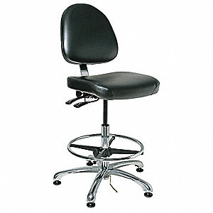 "Vinyl ESD Task Chair with 23 to 33"" Seat Height Range and 300 lb. Weight Capacity, Black"
