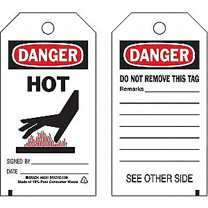 Danger Tag,5-3/4 x 3 In,Hot,3/8 In,PK10