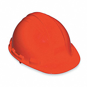 North Class E Front Brim Hard Hat, 4 pt. Pinlock Suspension, Orange, Hat Size: 6-1/2 to 8