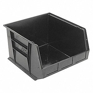 "Hang and Stack Bin, Black, 18"" Outside Length, 16-1/2"" Outside Width, 11"" Outside Height"