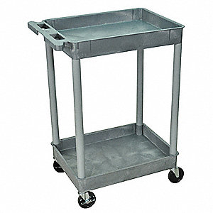 Utility Cart,300 lb. Cap.,PE,2 Shelves