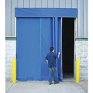 Blue Manual Slide Under Header Mount Curtain Door 8 ft.W x 10 ft.H""