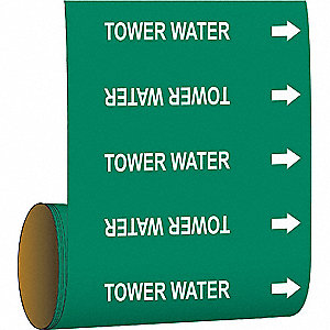 Pipe Marker,Tower Water,Green
