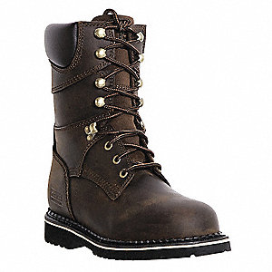 "8""H Men's Work Boots, Plain Toe Type, Leather Upper Material, Dark Brown, Size 9-1/2"