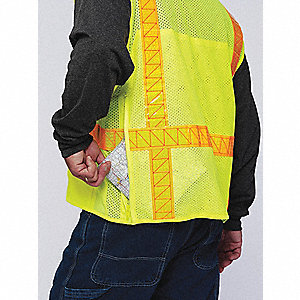 Yellow/Green with Silver Stripe High Visibility Vest, ANSI 2, Zipper Closure, M