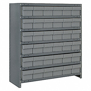 "Steel Enclosed Bin Shelving with 36 Bins, 36""W x 18""D x 39""H, Load Capacity: 2400 lb., Gray"