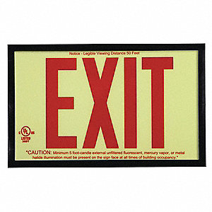 Exit Sign,7-1/2 x 13In,GRN and R/BK,Exit