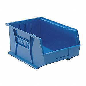 "Hang and Stack Bin, Blue, 16"" Outside Length, 11"" Outside Width, 8"" Outside Height"